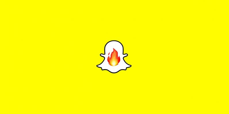 snapchat logo with fire emoji